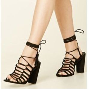 Forever 21 Tassel Caged Lace Up Heel